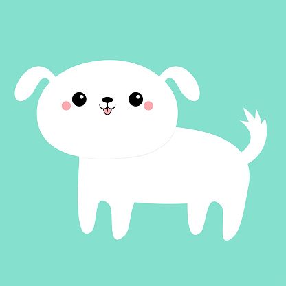 White dog puppy icon. Funny face. Cute kawaii cartoon character. Scandinavian style. Baby greeting card tshirt sticker template. Happy Valentines Day. Isolated. Blue background. Flat design.