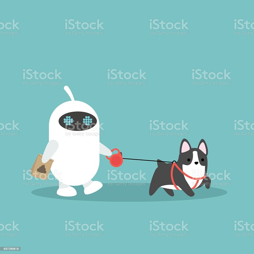 White domestic robot walking the dog - ilustración de arte vectorial