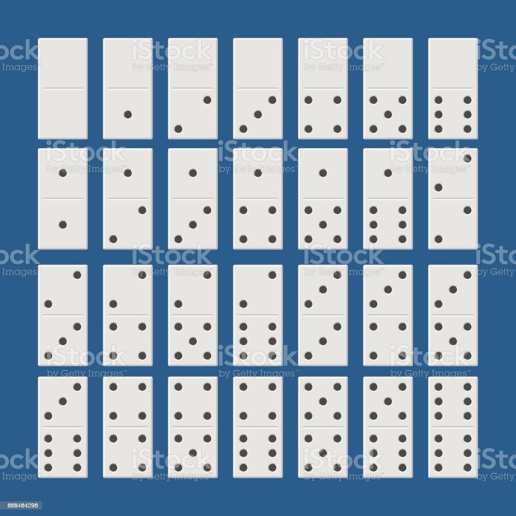 Weiße Domino Komplettset Klassisches Spiel Domino Im Flachen Stil ...