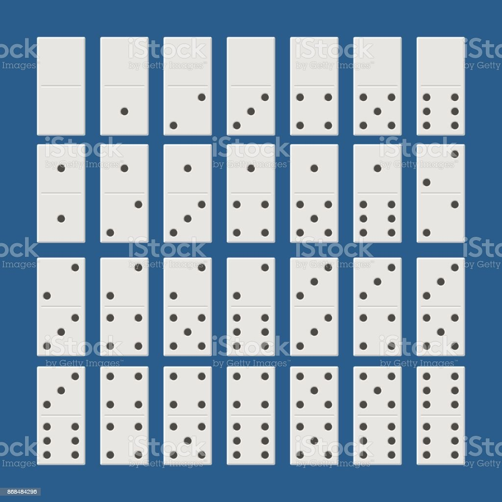 Juego completo de dominó blanco. Dominó juego clásico estilo plano. Huesos de dominó juego de 28 piezas - ilustración de arte vectorial