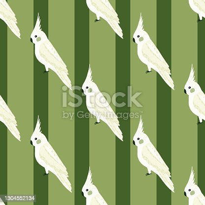 White doodle cockatoo parrot ornament seamless pattern. Green striped background. Simple design. Flat vector print for textile, fabric, giftwrap, wallpapers. Endless illustration.