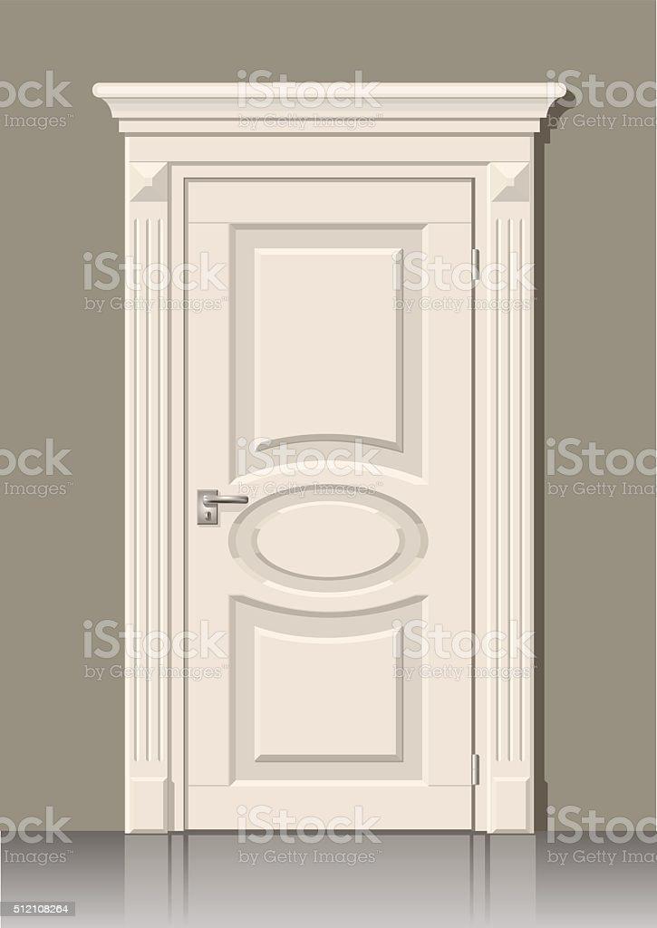 Porta branca na parede - ilustração de arte em vetor