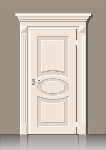 ilustrações, clipart, desenhos animados e ícones de porta branca na parede - molduras decorativas