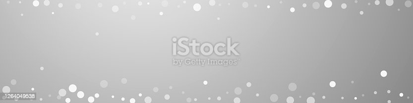 White dots Christmas background. Subtle flying snow flakes and stars on grey background. Bizarre winter silver snowflake overlay template. Mesmeric panoramic illustration.