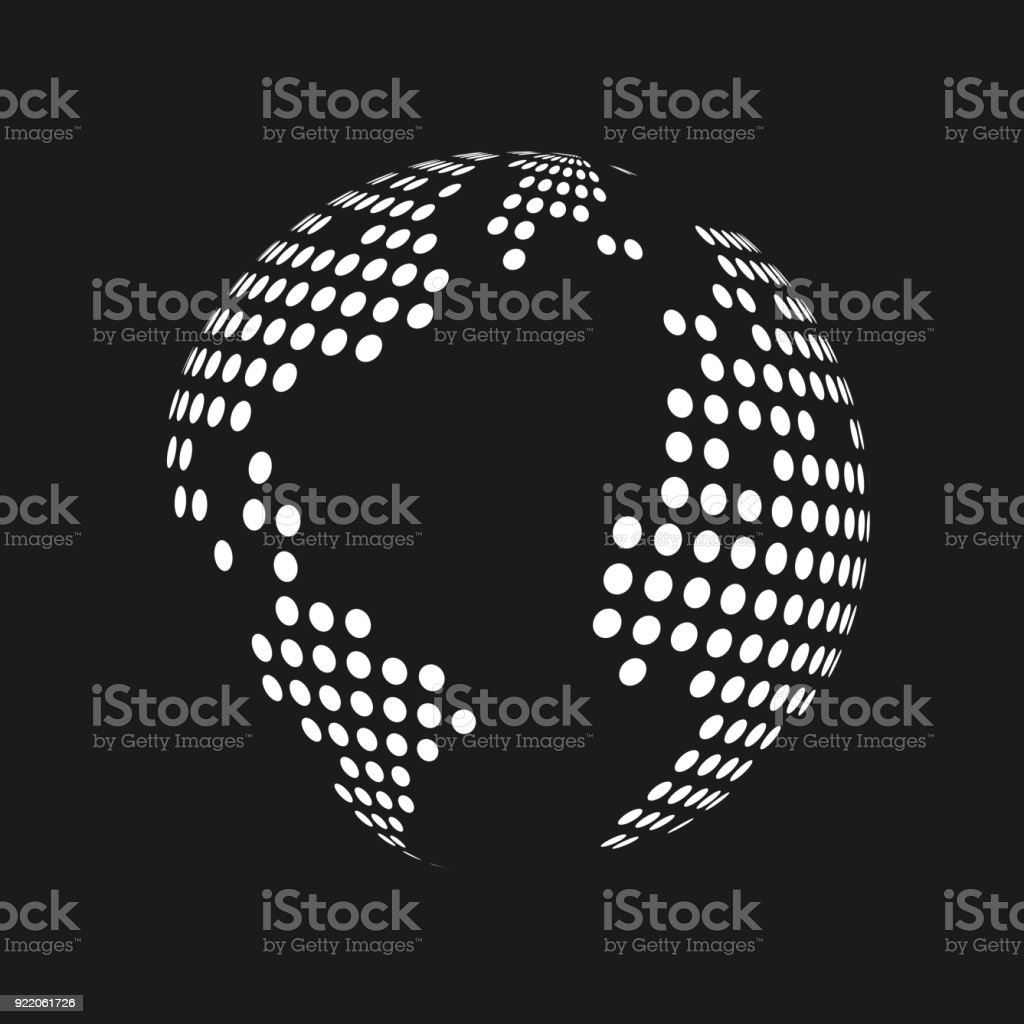 white dotted 3d earth world map globe in black background vector illustration royalty free
