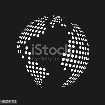 White dotted 3d earth world map globe in black background vector white dotted 3d earth world map globe in black background vector illustration stock vector art more images of abstract 922061726 istock gumiabroncs Images
