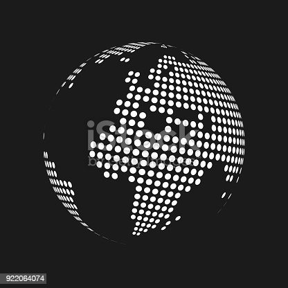 White dotted 3d earth world map globe in black background vector white dotted 3d earth world map globe in black background vector illustration stock vector art more images of africa 922064074 istock gumiabroncs Images