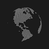 White dotted 3d earth world map globe in black background. Vector illustration.