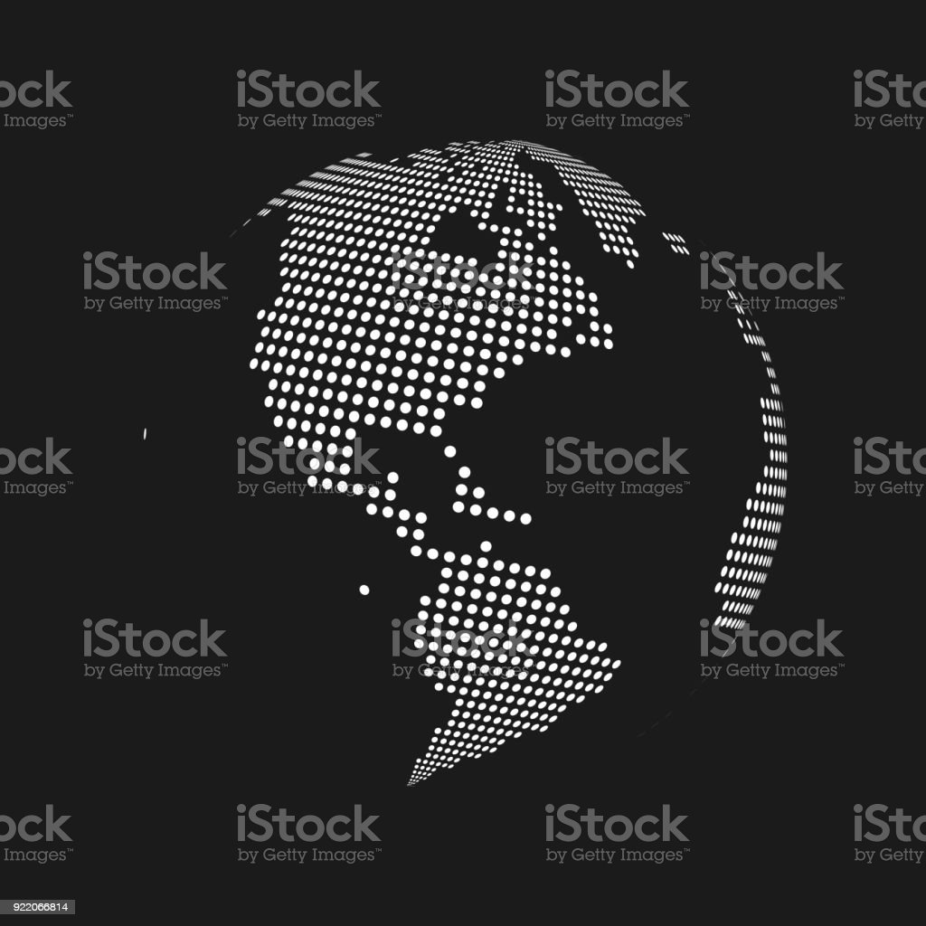 White dotted 3d earth world map globe in black background. Vector illustration vector art illustration