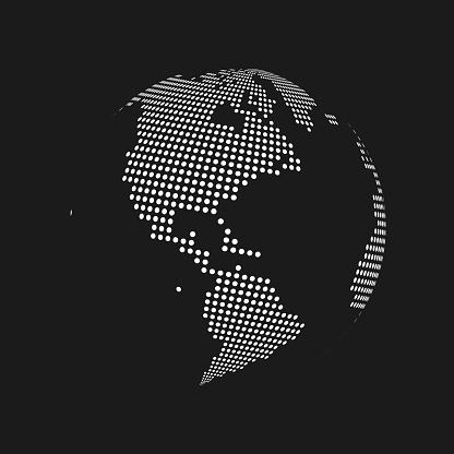White Dotted 3d Earth World Map Globe In Black Background Vector Illustration - Stockowe grafiki wektorowe i więcej obrazów Abstrakcja