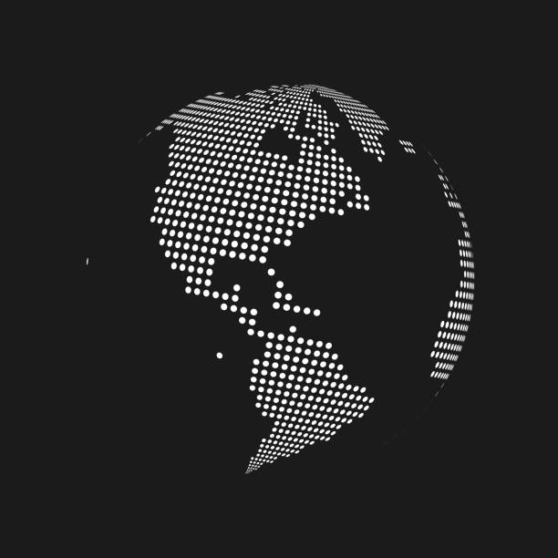white dotted 3d earth world map globe in black background. vector illustration - north america maps stock illustrations, clip art, cartoons, & icons