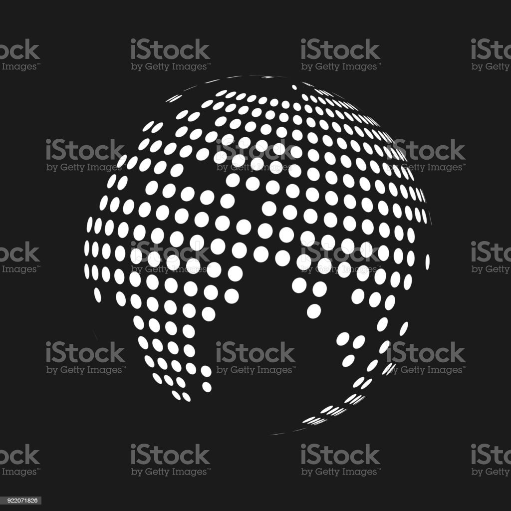White dotted 3d earth world map globe in black background vector white dotted 3d earth world map globe in black background vector illustration royalty free gumiabroncs Images