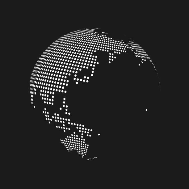 白は、黒の背景に 3 d 地球世界地図世界をドット。ベクトル図 - 地球 日本点のイラスト素材/クリップアート素材/マンガ素材/アイコン素材