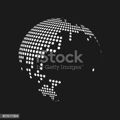 White dotted 3d earth world map globe in black background vector white dotted 3d earth world map globe in black background vector illustration stock vector art more images of africa 922072304 istock gumiabroncs Image collections