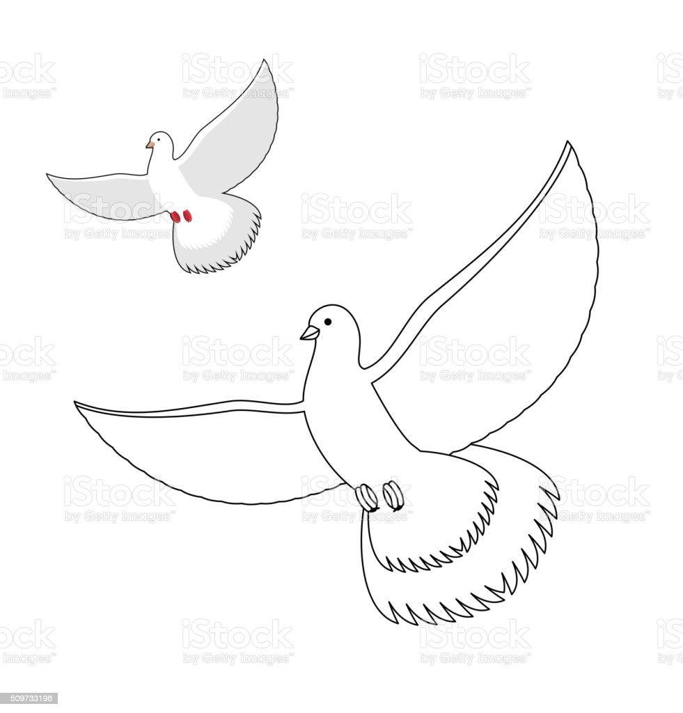Coloriage Le Chien Et Le Pigeon.Colombe Blanche Livre De Coloriage Flying Pigeon Blanc Oiseau Wavi