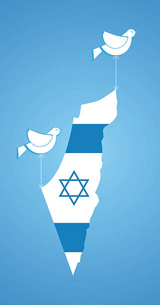 white dove holding karte von israel - haifa stock-grafiken, -clipart, -cartoons und -symbole