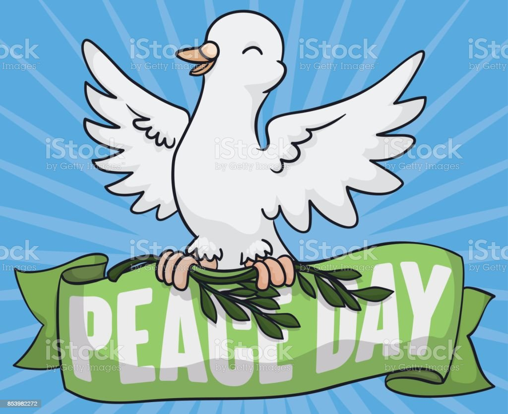 white dove holding olive branch and ribbon for peace day royalty free stock vector art
