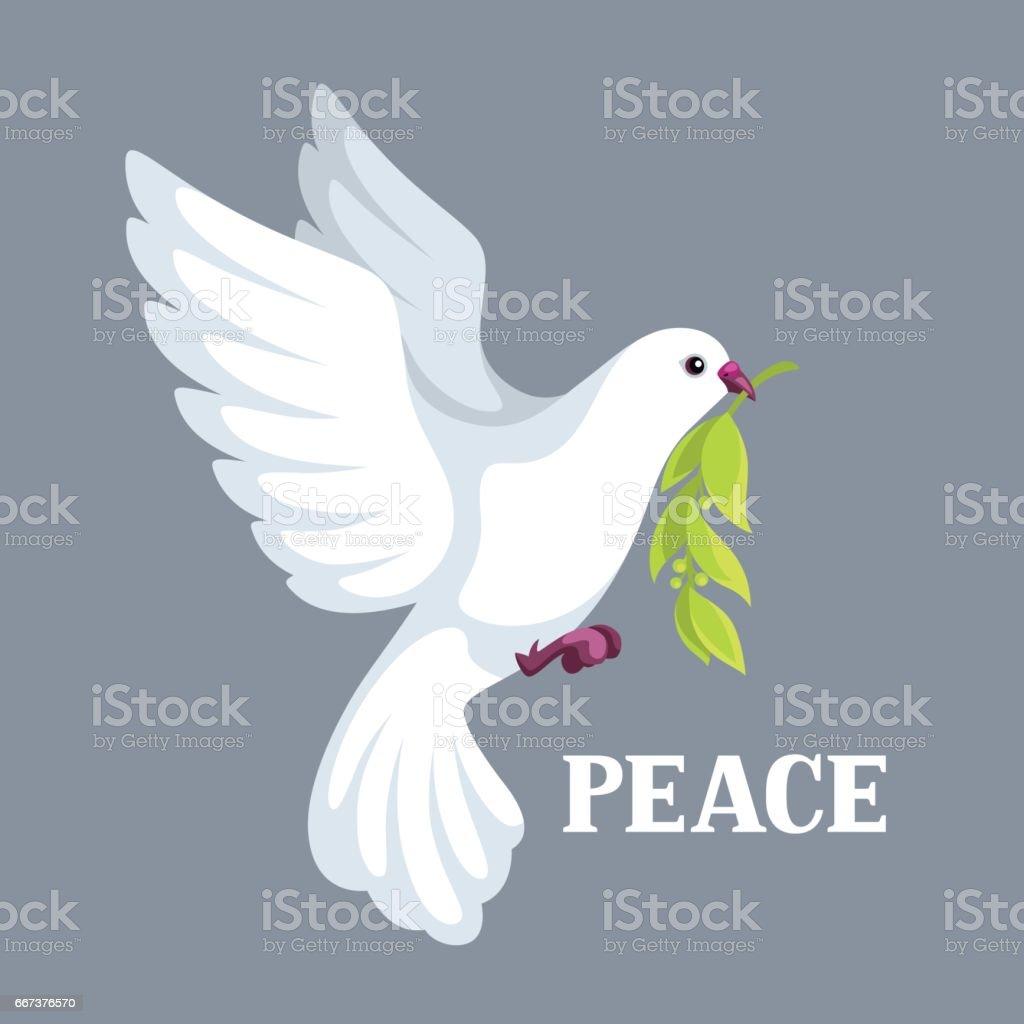 Weiße Taube des Friedens Bären Olivenzweig - Lizenzfrei Ast - Pflanzenbestandteil Vektorgrafik