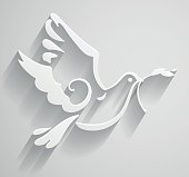 Paper stylized Peace Dove with olive branch. Vector Illustration