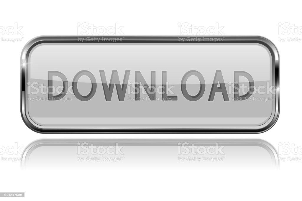 Botón Descargar Blanco Con Marco Cromado Audaz 3d Icono Brillante ...