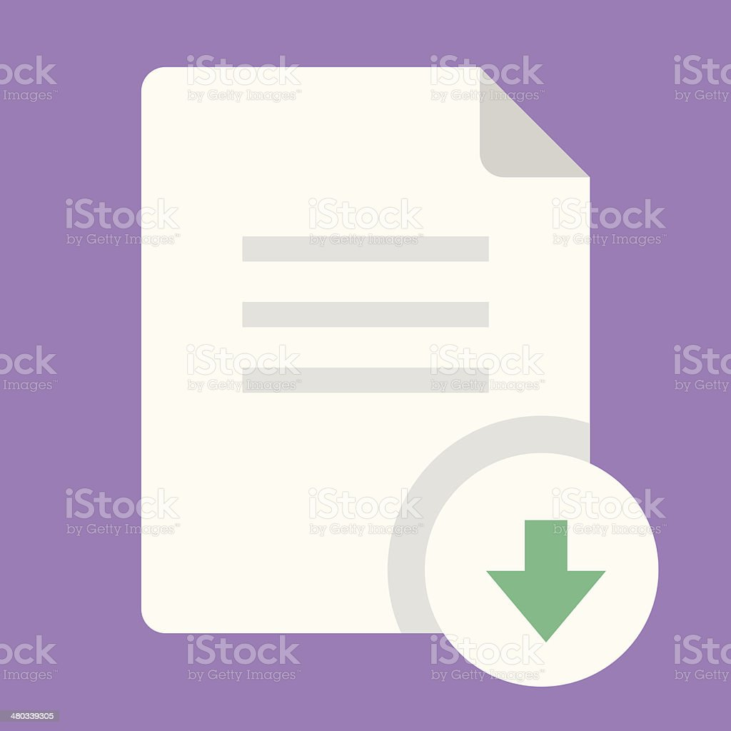 White download document icon with green arrow vector art illustration
