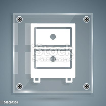 istock White Drawer with documents icon isolated on grey background. Archive papers drawer. File Cabinet Drawer. Office furniture. Square glass panels. Vector Illustration 1266097334