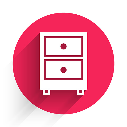 White Drawer with documents icon isolated with long shadow. Archive papers drawer. File Cabinet Drawer. Office furniture. Red circle button. Vector Illustration