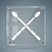 White Drum sticks icon isolated on grey background. Musical instrument. Square glass panels. Vector Illustration