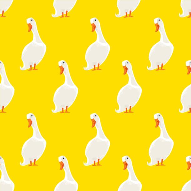 White Duck Seamless Pattern White Duck Seamless Pattern. Vector illustration. american pekin duck stock illustrations