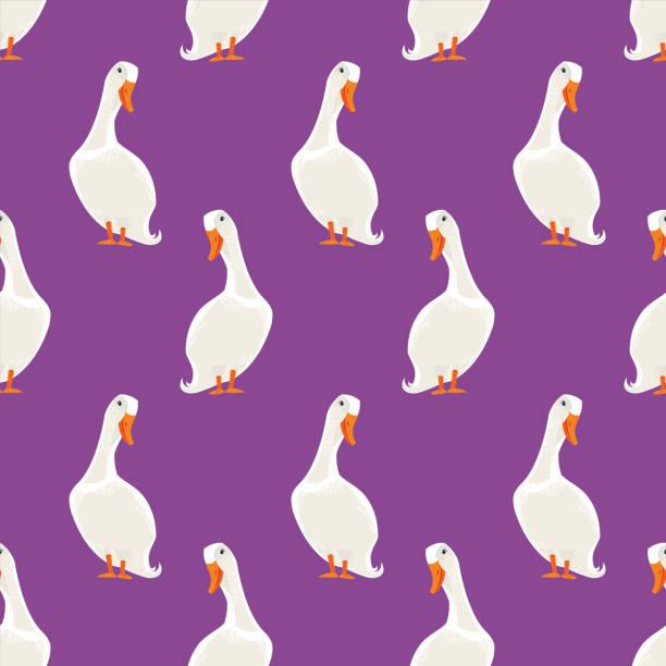 White Duck Seamless Pattern vector art illustration