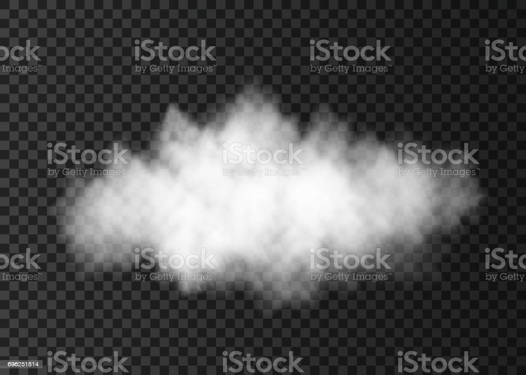 White  dust  cloud  isolated on transparent background. vector art illustration