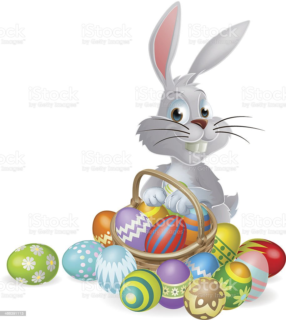 white easter bunny and chocolate eggs stock vector art 466391113
