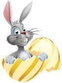 White Easter Bunny in Egg