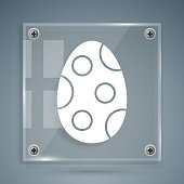 White Easter egg icon isolated on grey background. Happy Easter. Square glass panels. Vector Illustration