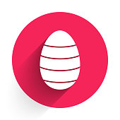 White Easter egg icon isolated with long shadow. Happy Easter. Red circle button. Vector Illustration