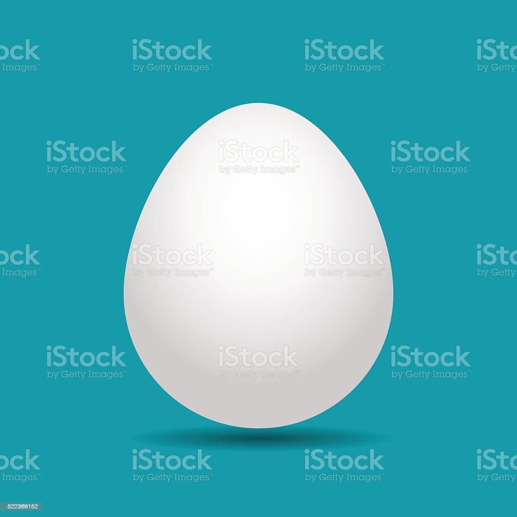 white Easter egg with shadow vector art illustration