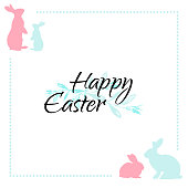 White Easter greeting card with blue and pink bunnies