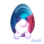 White Easter Rabbit and flower in paper cut style. Bunny booty. Egg layered frame. Blue. Vector