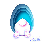 White Easter Rabbit. in paper cut style. Bunny booty. Egg layered frame. Blue. Vector