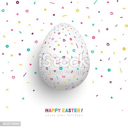 istock White egg with funky geometric pattern 930526690