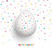 Happy Easter greeting card, white egg with funky geometric pattern, confetti with hearts, flowers and figures. Vector illustration