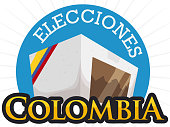 Full voting box for Colombian electoral event (written in Spanish) with ribbon like a flag, promoting the massive assistance to electoral process.