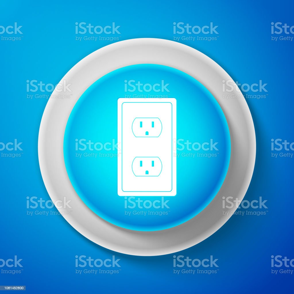 White Electrical outlet in the USA icon isolated on blue background. Power socket. Circle blue button with white line. Vector Illustration vector art illustration