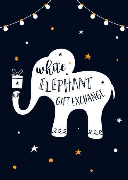 White Elephant Gift Exchange Game Vector Illustration White Elephant Gift Exchange Game Vector Illustration. elephant stock illustrations