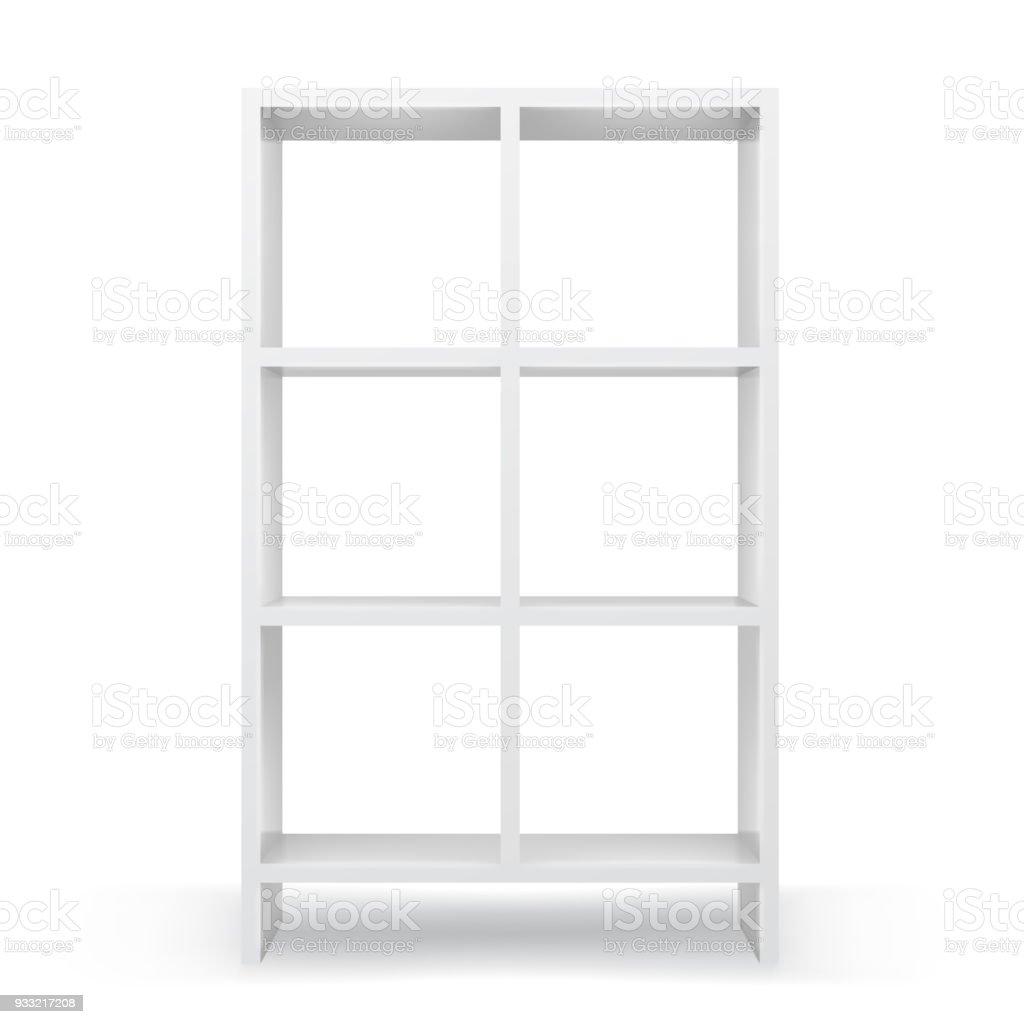 witte lege boekenkast sjabloon realistische gesoleerde vector royalty free witte lege boekenkast sjabloon realistische