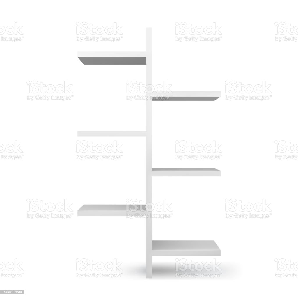 White Empty Bookshelf Template Realistic Isolated Vector Royalty Free