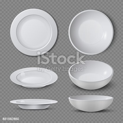 istock White empty ceramic plate in different points of view isolated vector illustration 831562850