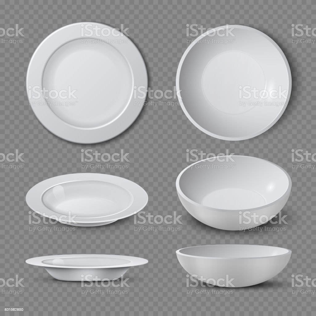 White empty ceramic plate in different points of view isolated vector illustration vector art illustration