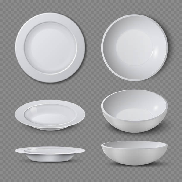 illustrazioni stock, clip art, cartoni animati e icone di tendenza di white empty ceramic plate in different points of view isolated vector illustration - piatto stoviglie