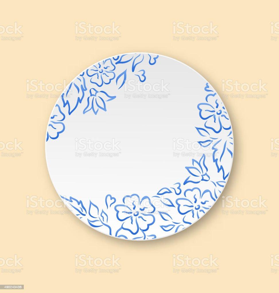 Weiße Leere Keramikplatte Mit Hand Gezeichnet Blumenornament Vektor ...